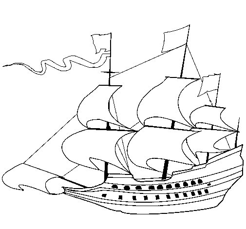 17th century sailing boat coloring page