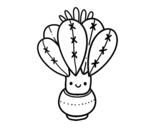 A cactus with flower coloring page