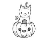 A Halloween kitten coloring page