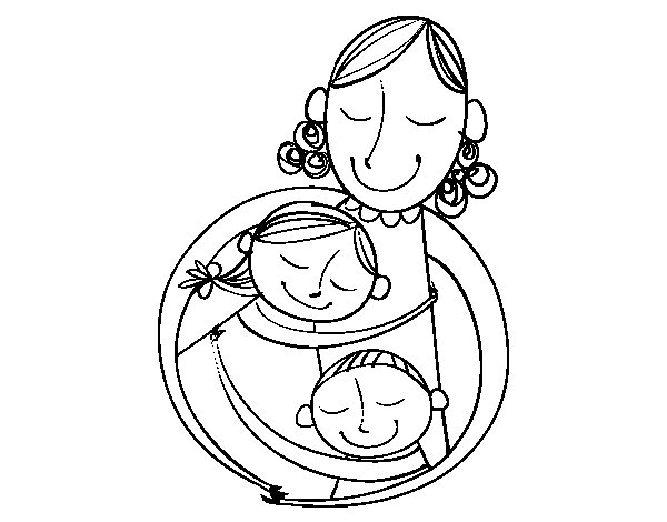 A hug for a mom coloring page