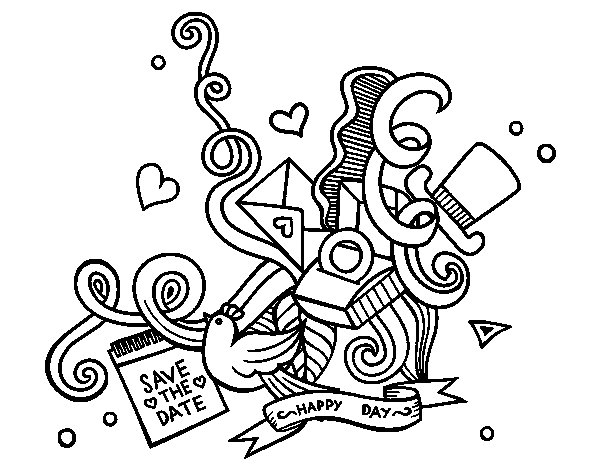 A wedding collage coloring page