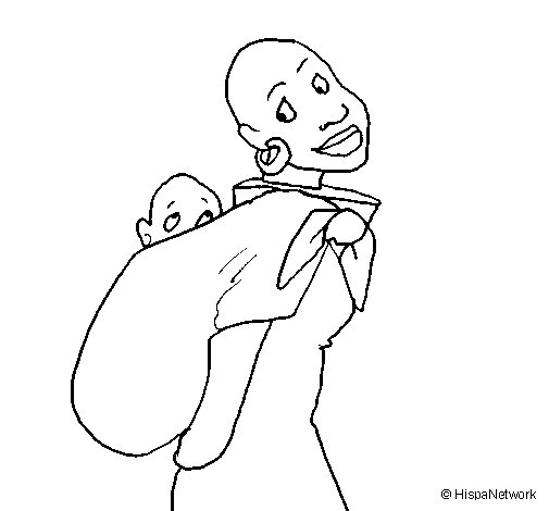 African woman with baby sling coloring page