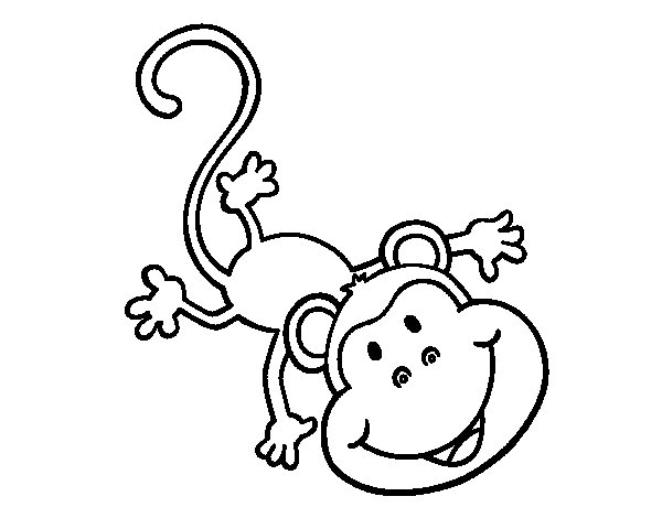 Amusing monkey coloring page
