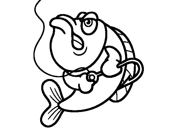 Angry fish coloring page