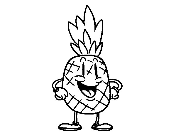 Animation pineapple coloring page