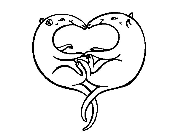 Anteaters in love coloring page