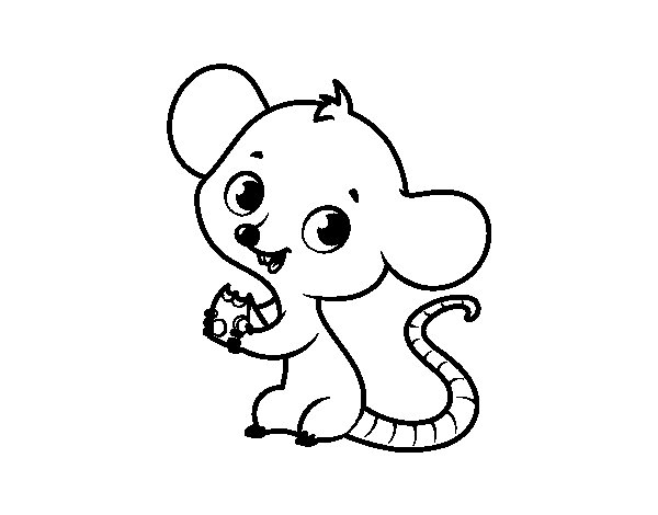 Baby mouse coloring page