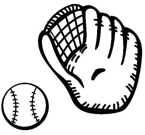 Baseball glove and baseball ball coloring page
