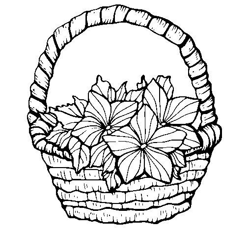 Basket of flowers 2 coloring page