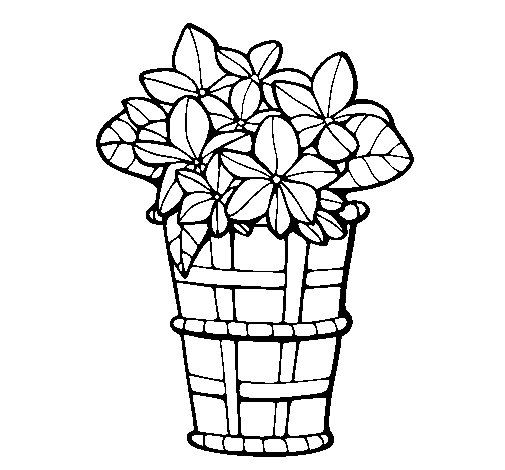 Basket of flowers 3 coloring page