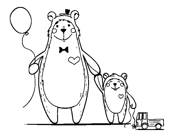 Bear and little bear coloring page