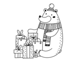 Dibujo de Bear with Christmas gifts