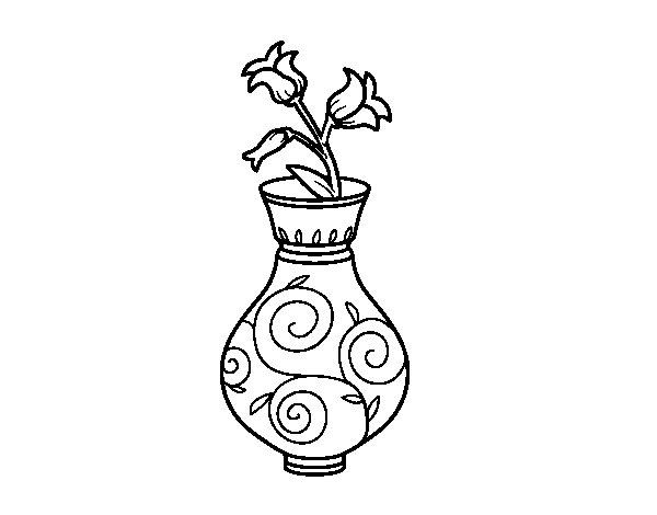 Bellflower in a vase coloring page