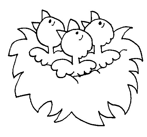 Birds Nest Coloring Page