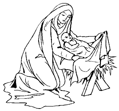 Birth of baby Jesus coloring page