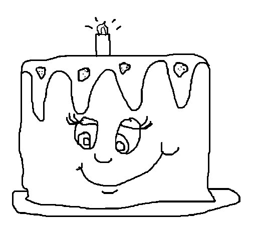 Birthday cake II coloring page