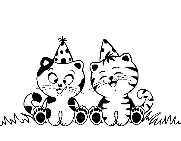 Birthday cats coloring page  Coloringcrewcom