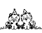 Birthday cats coloring page