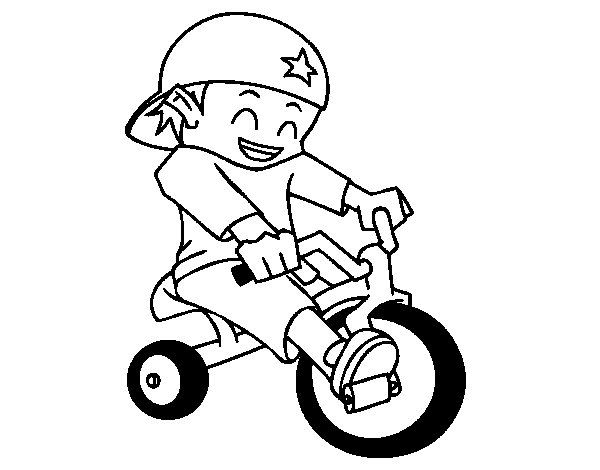 Boy on tricycle coloring page