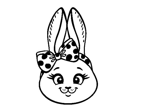 Bunny girl face coloring page