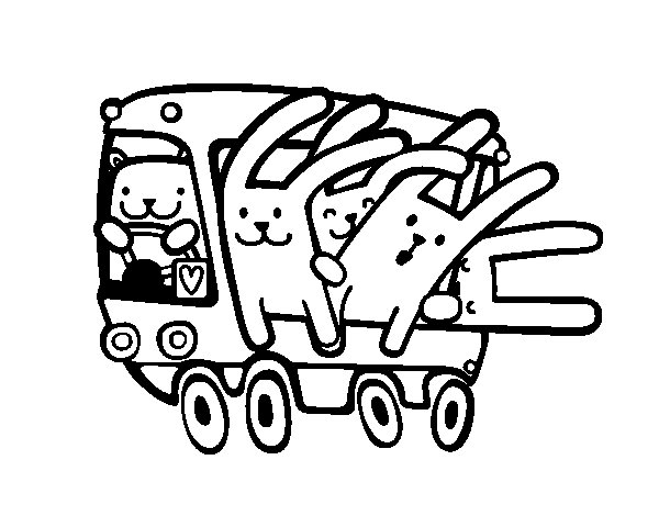 Bus rabbits coloring page