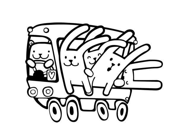 bus rabbits coloring page coloringcrewcom