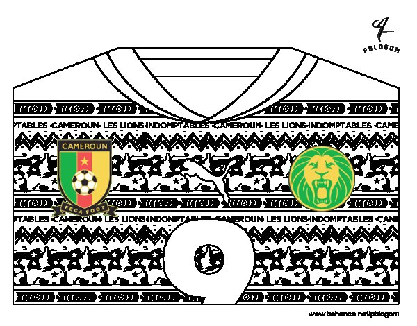 Cameroon World Cup 2014 t-shirt coloring page
