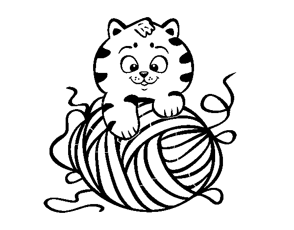 Cat Playing With Ball Of Yarn Coloring Page