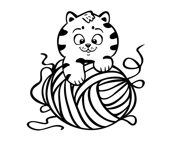 cat with a ball of wool coloring page coloringcrewcom