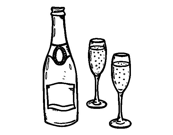 Champagne and glasses coloring page