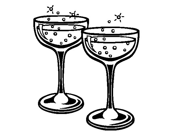 Champagne glasses coloring page