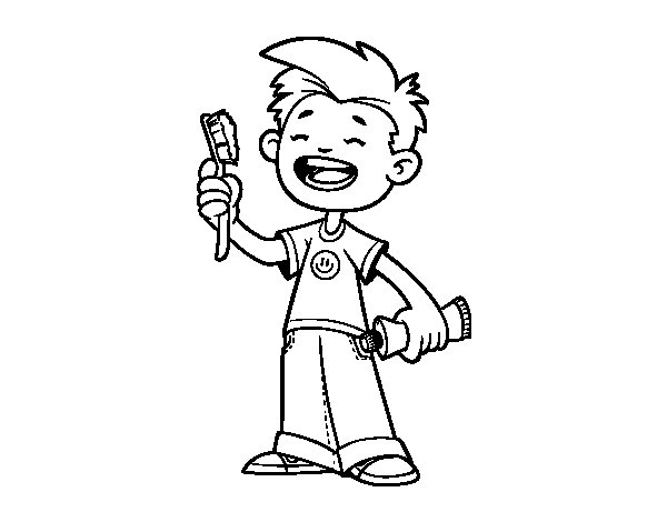 Child with toothbrush coloring page - Coloringcrew.com