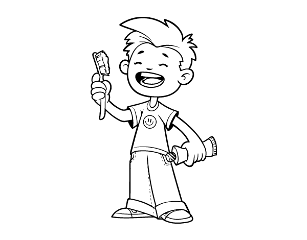 Child with toothbrush coloring page Coloringcrewcom
