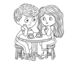 Children drinking coffee coloring page