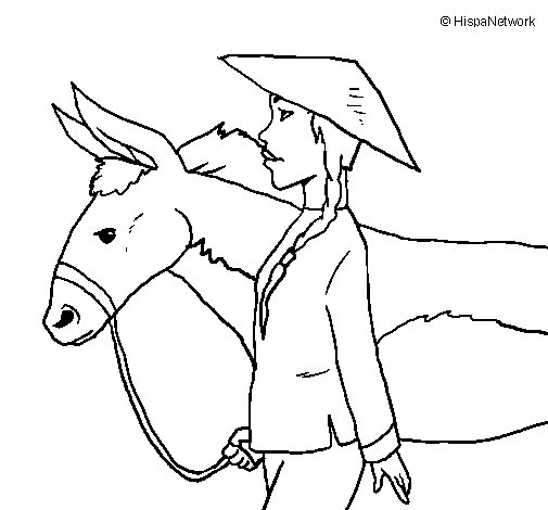 Chinese peasant coloring page
