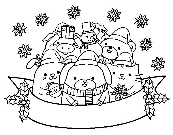 Christmas Animals Coloring Pages- #images