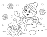 Christmas card snowman coloring page