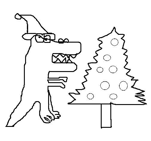 Christmas Dinosaur coloring page