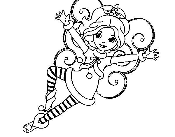 Christmas fairy leprechaun coloring page