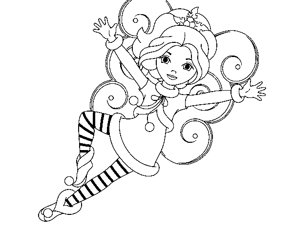 Christmas fairy leprechaun coloring page for Christmas fairy coloring pages