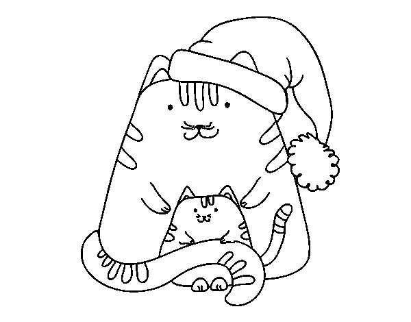 Christmas kittens coloring page for Christmas kitten coloring pages