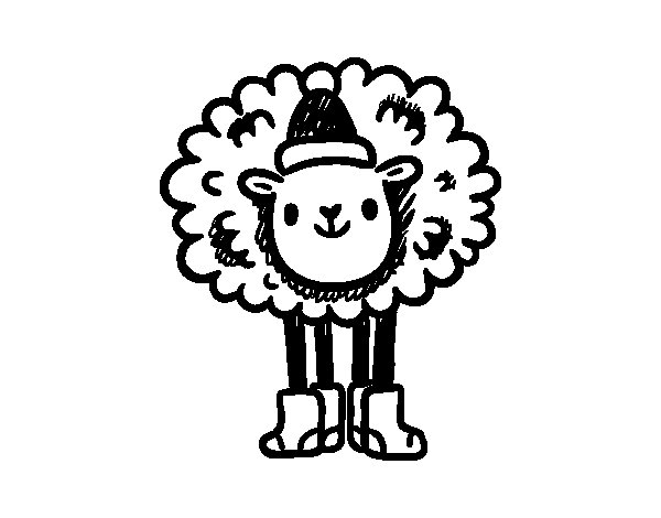 Christmas Sheep coloring page