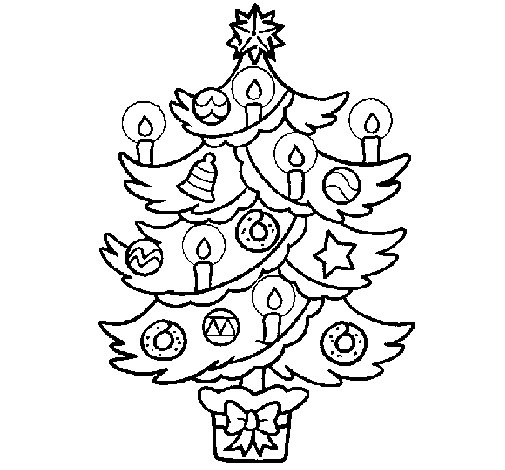 christmas candles coloring pages - christmas tree with candles coloring page
