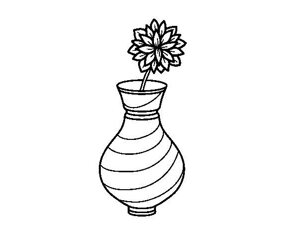 Chrysanthemum in a vase coloring page