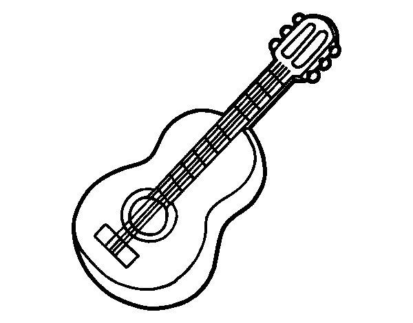 Classical guitar coloring page - Coloringcrew.com
