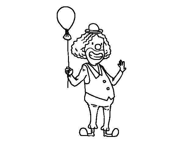 Clown and balloon coloring page