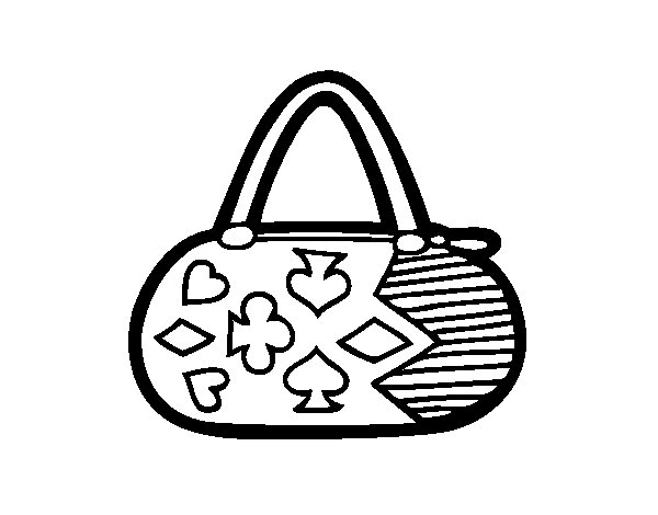 Clutch with card game motifs coloring page