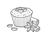 Coffe cupcake coloring page