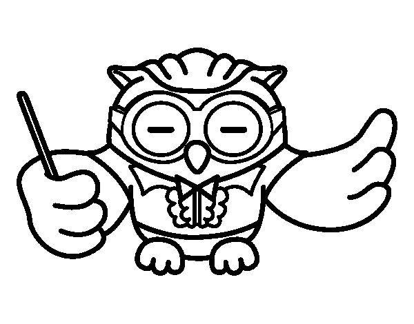 conductor owl coloring page