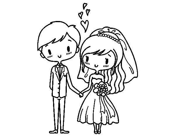 Couple very in love coloring page